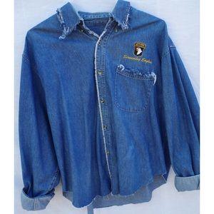 Screaming Eagles Vintage Distressed Denim Shirt